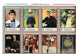 Général De Gaulle - Bloc Ajman 1970 - 8 Timbres Géants - De Gaulle (Generaal)