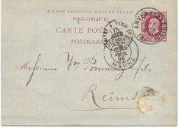ENTIER POSTAL DE BELGIQUE 1886 AVEC CACHET AMBULANT GIVET A PARIS 1° - Poststempel (Briefe)
