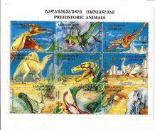 1995 Georgia Dinosaurs Miniature Sheet Of 9 MNH - Georgia