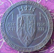 Médaille Bronze 1912 Bataille Las Navas De Tolosa Sancho Roi De Navarre  55mm 80gr Avec écrin - Adel