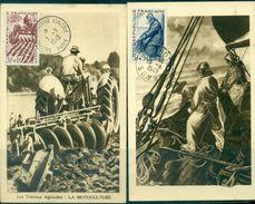 FRANCE Carte Maximum N°823 / 826 Série Des Métiers 1949 Sur 4 Cartes  .TB. - Cartes-Maximum