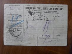 Lot4 - Guerre 14-18 WW1 - Ordre D'appel Sous Les Drapeaux 05/09/1914 - Historical Documents