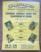 Box,Boxing, Championships Canada 1972. Winnipeg Arena - Al Sparks, George Chuvalo,Sam Poke, Jessie Fagan -  Poster - Boxe