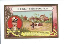 Chessé Cochinchine Cambodge Borabora Huahine Explorateur Chromo Bien/TB 105 X 65 Mm Colonies Françaises Guérin-Boutron - Guerin Boutron