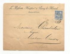 SAGE SUR LETTRE DE PARAY LE MONILA DU 22/9/1893 - 1877-1920: Période Semi Moderne