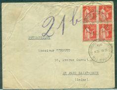 FRANCE  Lettre Pneumatique De Paris 114 Pour Parc De St Maur 22.05.1933 Arrivée 23.05 Affr PAIX 50c Bl De 4 - Marcofilia (sobres)