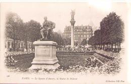 Paris Le Square D'Anvers La Statue De Diderot - Sculptures