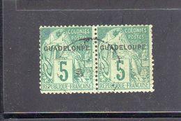 Guadeloupe: Variété:paire Horizontale Timbres Surchargés  N° 17 Dont Une Variété 17a (guadelonpe) - Guadeloupe (1884-1947)