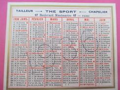 Petit Calendrier De Poche Recto-Verso/The SPORT/ Chemisier-Bottier-Tailleur-Chalelier/ Bd Montmartre/Paris/1936   CAL361 - Calendarios