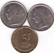 Belgium, 3 X 5 Francs 1975, 1976, 1986 Baudouin - 1951-1993: Baudouin I