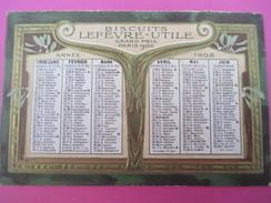 Petit Calendrier De Poche Recto-Verso/Biscuit Lefévre-Utile /Gaufré-Doré/1908     CAL364 - Calendars