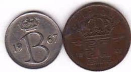 Belgium, 25 Centimes 1967 + 50 Centimes 1953 - 02. 25 Centimes