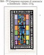PIA - AUST -1984 : 7° Congresso Europeo Di Anatomia A Innsbruck  - (Yv 1619) - Medicina