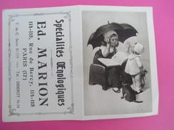 Petit Calendrier De Poche à Deux Volets/Pied De Nez/Ed Marion/Spécialités Œnologiques/Rue De Bercy/Paris/1924 - Calendarios