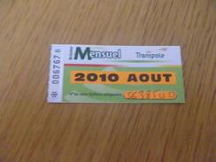 Titre De Transport Mensuel 2010 - BUS METRO TRAMWAY - TRANSPOLE - LILLE - Abonnements Hebdomadaires & Mensuels