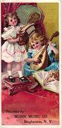 4 Trade Cards Music Munn Music C° Binghamton N.Y. Pianos  Litho Margaretville N.Y. Donovon Kipp Banjo Accordion - Musical Instruments