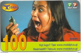 Greenland - Tusass - Girl With Mobile, GSM Refill, 100kr. Exp. 21.04.2007, Used - Grönland