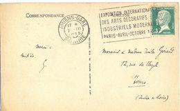 AMIENS-GARE SOMME OM FLIER 2.III 1925 EXPOSITION INTERNATIONALE / DES ARTS DECORATIFS /.../ PARIS-AVRIL-OCTOBRE 1925 - Oblitérations Mécaniques (flammes)