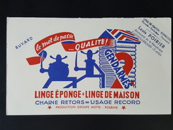 Ancien Buvard Publicitaire, Linge éponge, Linge De Maison 2 Gendarmes, Louis POIRIER, Castelsarrasin - Vestiario & Tessile