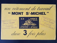 Ancien Buvard Publicitaire, Vêtement De Travail Mont Saint Michel, Marcel Helbert à Fougères (35-ille Et Vilaine) - Vestiario & Tessile