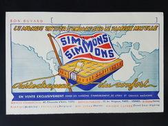 Ancien Buvard Publicitaire, Matelas SIMMONS - Buvards, Protège-cahiers Illustrés