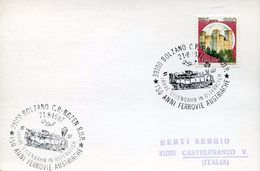 25535 Italia, Special Postmark Bolzano 1987  150 Jahre Eisenbahn Osterreich Ferrovia Austriaca - Treni