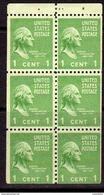 USA 1938-51 Presidential Series 1c George Washington Booklet Pane Of 6, MNH, Light Hinge Mark At Top (SG 800c) - Unused Stamps
