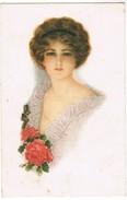 Wenskaart, Dame Met Rode Rozen, Dame Avec Roses Rouges (pk35441) - Autres