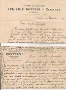 SUISSE - ZERMATT Epicerie Bottini - Vins En Gros - 2 Anciennes Lettres 1930 Et 1941 écrit En Italien - Switzerland
