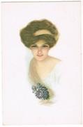 Wenskaart, Dame Met Paarse Bloemen, Dame Avec Fleurs Mauves (pk35442) - Autres