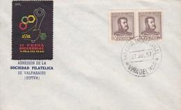 1RA FERIA INDUSTRIAL VIÑA DEL MAR, SOCIEDAD FILATELICA VALPARAISO 1957 - CHILE/CHILI - RARISIME - BLEUP - Chili