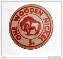 Rare Wooden Token 3c - Wooden Nickel - Jeton Bois Monnaie Nécessité 5 Cents - Bison - Coca-Cola - Etats-Unis - Monedas/ De Necesidad