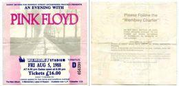 063> Wembley PINK FLOYD Concerto Del 5 AGO 1988 Biglietto / Ticket Concert - Biglietti Per Concerti