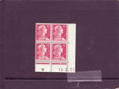 N° 1011 -15F MULLER - B De A+B - Tirage Du 16.2.55 Au 22.3.55 - 18.2.1955 - Dated Corners
