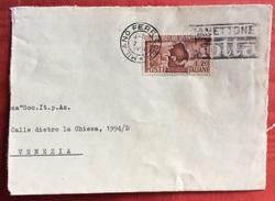 Fiera Del Levante 1950  L. 20 SU BUSTA DA MILANO A VENEZIA IN DATA 7/10/50 - 6. 1946-.. Republic