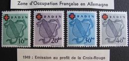 LOT R1592/180 - ZONE D'OCCUPATION FR. EN ALLEMAGNE (BADE) CROIX ROUGE N°30 à 41 NEUFS* - Cote : 80,00 € - Französische Zone