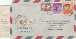 COVER AIR MAIL RECOMMANDED TJIREBON 25/4/56 FOR PARIS -              TDA5 - Indonesia