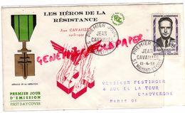 GUERRE 39-45- WW2- MILITARIA-HEROS RESISTANCE-JEAN CAVAILLES 1903-1944- MEDAILLE LIBERATION- SAINT MAIXENT L' ECOLE 1958 - Guerre 1939-45