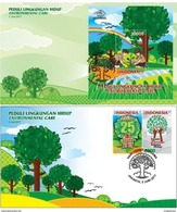 INDONESIA 2017-6 ENVIRONMENT CARE SCOUTS BOY & GIRL SET 2 FDC STAMPS MNH - Indonésie