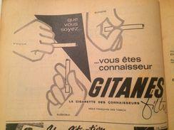 CIGARETTES GITANES-PUBLICITÉ ISSUE D'UNE ANCIENNE REVUE - Objets Publicitaires