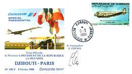 CONCORDE, Visite Président De La République à La REUNION - DJIBOUTI - PARIS 1988  Signée  Cdt CHEMEL - Concorde