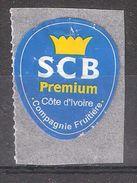 Vignette Etiquette Autocollante BANANE SCB Premium Cote D'Ivoire, Compagnie Fruitière / Banana , Illustrée Couronne - Fruits & Vegetables