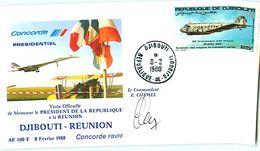 CONCORDE, Visite Président De La République à La REUNION - DJIBOUTI - REUNION 1988  Signée  Cdt CHEMEL - Concorde