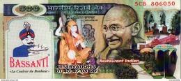 IMITATION BILLET 500 SUR PUBLICITE RESTAURANT INDIEN - Format 9,5X21 Cm - - Fictifs & Spécimens