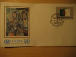 ALGERIA New York 1989 FDC Cancel UNICEF Cover UNITED NATIONS UN NY Flag Series Flags Mohammed Issiakhem - Algeria (1962-...)