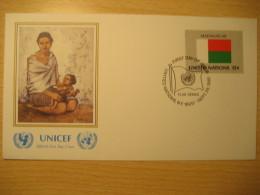 MADAGASCAR New York 1980 FDC Cancel UNICEF Cover UNITED NATIONS UN NY Flag Series Flags Rakamy - Madagascar (1960-...)