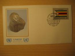 ZIMBABWE New York 1987 FDC Cancel UNICEF Cover UNITED NATIONS UN NY Flag Series Flags Bernard Takawira - Zimbabwe (1980-...)