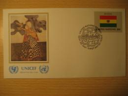 BOLIVIA New York 1981 FDC Cancel UNICEF Cover UNITED NATIONS UN NY Flag Series Flags Graciela Rodo Boulanger - Bolivia