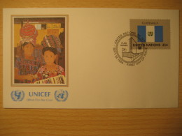 GUATEMALA New York 1989 FDC Cancel UNICEF Cover UNITED NATIONS UN NY Flag Series Flags Eric Guttelewitz - Guatemala