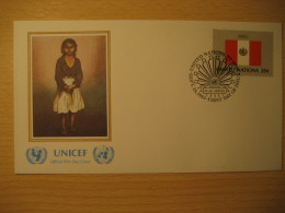 PERU New York 1983 FDC Cancel UNICEF Cover UNITED NATIONS UN NY Flag Series Flags Teodoro Nuñez Ureta - Peru